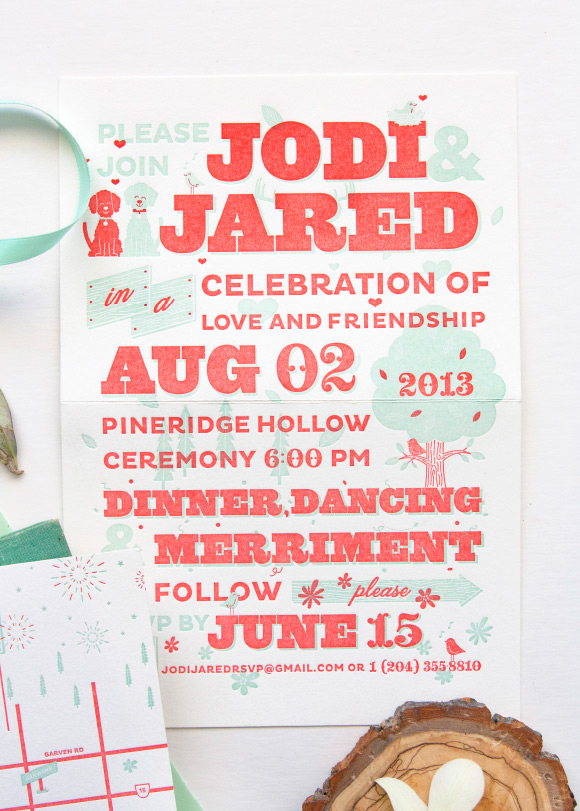Music Poster inspired wedding invitations - One Plus One Design
